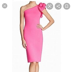 Eliza J Hot Pink One Shoulder Rosette Scuba Dress